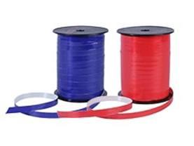 Krullint in rood, blauw, groen, geel, oranje, rood in Raphia en satijn.